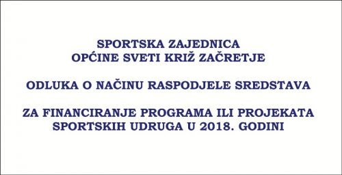 Odluka o dodijeli sredstava za financiranje programa ili projekata sportskih udruga